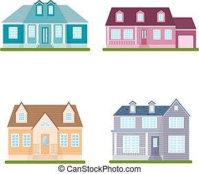 wektor, komplet, podmiejski, ilustracja, domy, tło, biały