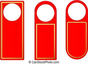 wektor, komplet, rączka, lok, plastyk, papier, czysty, drzwi, hangary, czerwony