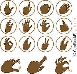 wektor, komplet, ręka, ikony