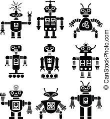 wektor, komplet, roboty