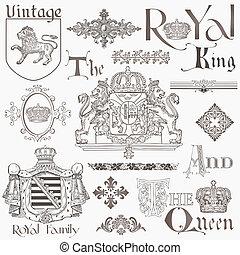 wektor, komplet, rocznik wina, -, wysoki, królewskość, projektować, jakość, elementy