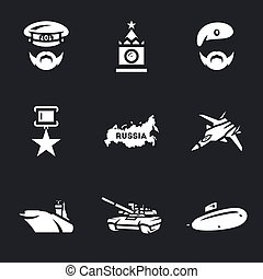wektor, komplet, rosja, icons., armia