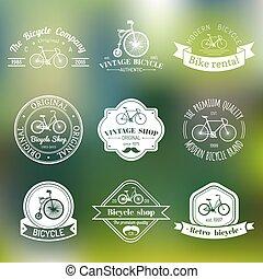 wektor, komplet, rower, collection., nowoczesny, emblematy, rower, hipster, rocznik wina, logo., albo, symbole
