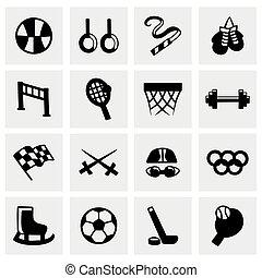 wektor, komplet, sport, ikona