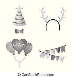 wektor, komplet, symbol, web., ilustracja, urodzinowa partia, icon., celebrowanie, pień