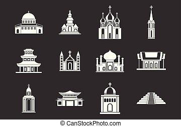 wektor, komplet, szary, ikona, świątynia