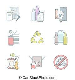 wektor, komplet, szkic, odpadki, oddzielny, kolor, ikony, zbiór, infographic, różny, grupy, przerabianie surowców wtórnych, tracić