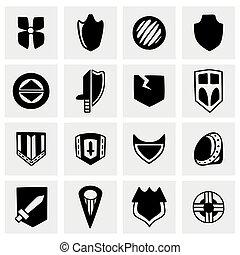 wektor, komplet, tarcza, ikona