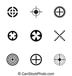 wektor, komplet, tarcza, ikony