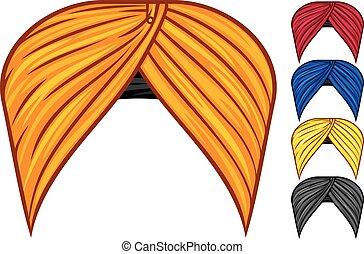 wektor, komplet, turban, fryzura