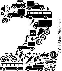 wektor, komplet, wóz, abstrakcyjny, -, liczba 2, alfabet, robiony, ikona