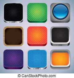 wektor, komplet, z, 9, app, ikony