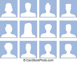 wektor, komplet, z, avatar, ikony