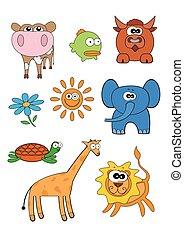 wektor, komplet, zwierzęta, rysunek