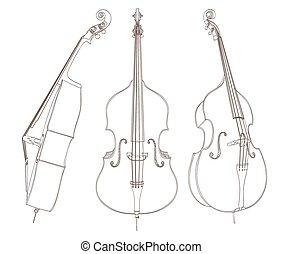 wektor, kontrabas, white., ilustracja, rysunek