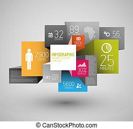 wektor, kostki, tło, abstrakcyjny, ilustracja, infographic, /, szablon, kwadraty