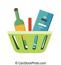 wektor, kosz, towary, zakupy, illustration.