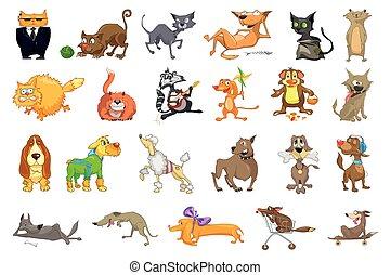 wektor, koty, komplet, psy, illustrations.