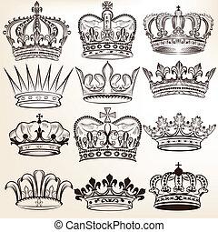wektor, królewskie korony, zbiór