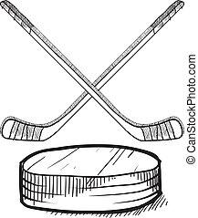 wektor, krążek, hokejowe pałki