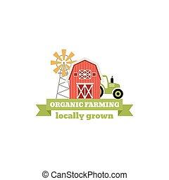 wektor, krajobraz, kasownik, illustration., barwny, zagroda, logo., odizolowany, products., etykieta, tło., pojęcie, szablon, świeży, biały, odznaka, windmill.