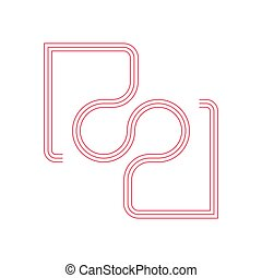 wektor, kreska, projektować, rr, litera, pasy, symbol
