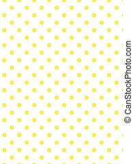 wektor, kropkuje, biały, żółty, eps8, polka