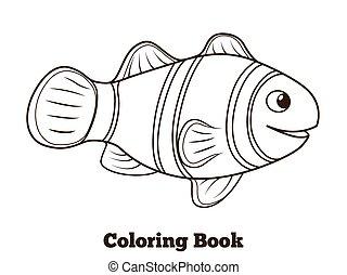 wektor, książka, clownfish, rysunek, fish, kolorowanie