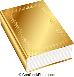 wektor, książka, ilustracja, złoty