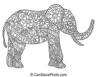 wektor, książka, kolorowanie, adults, słoń
