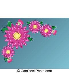 wektor, kwiat, brzeg, cynia