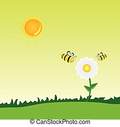 wektor, kwiat, sztuka, ilustracja, pszczoła