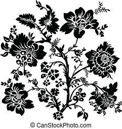 wektor, kwiatowy, i, róża, ozdoba