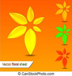 wektor, kwiatowy, listek, dla, twój, projektować