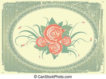 wektor, kwiatowy, tło, z, dekoracje, ułożyć, na, stary, papier