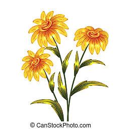 wektor, kwiaty, żółty