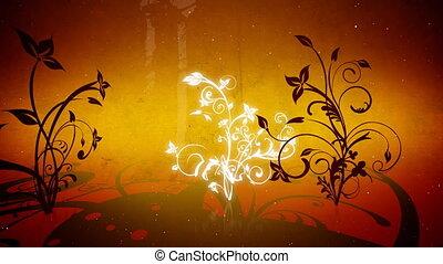 wektor, kwiaty, 4, pętla