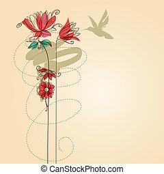 wektor, kwiaty, colibri