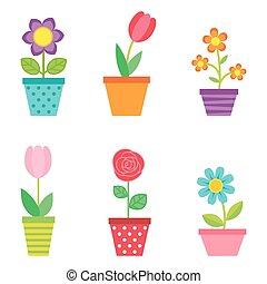 wektor, kwiaty, komplet, garnki