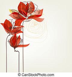 wektor, kwiaty, powitanie karta