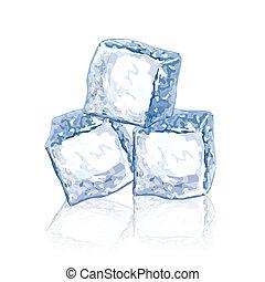 wektor, lód, ilustracja, kostki