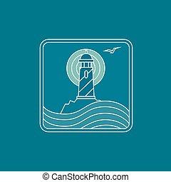 wektor, latarnia morska, logo, projektować, szablon, w, modny, linearny, styl, -, abstrakcyjny, emblemat, i, odznaka, -, nawigacyjny, i, podróż, pojęcie