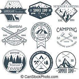 wektor, lato, pojęcie, illustration., obozowanie, rocznik wina, etykiety, obóz, na wolnym powietrzu, komplet, przygoda, style.