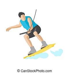 wektor, lato, surfing, hobby, człowiek, litera, ilustracja, machać, skok, czyn, bryzg, zmartwychwstać, wakeboarder, woda, zabawa, wakeboarding, sport, boardwakeboard, ekstremum