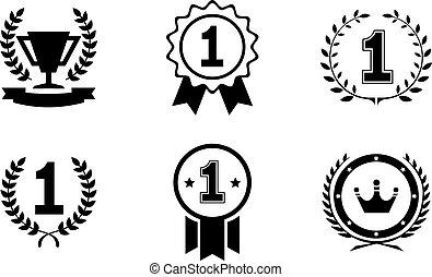 wektor, lider, komplet, emblematy, zwycięzca, ikony