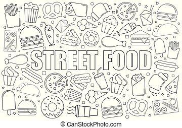 wektor, linearny, jadło, pattern., ulica, tło, kreska, icon.