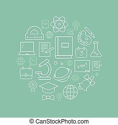 wektor, linearny, logo, projektować, szablon, -, online wykształcenie, i, uniwersytet, pojęcie, w, modny, szkic, styl