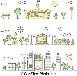 wektor, linearny, miasto, ilustracja, w, modny, styl, mono, kreska, zabudowanie