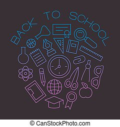 wektor, linearny, szablon, szkoła, pojęcie, w, modny, szkic, styl