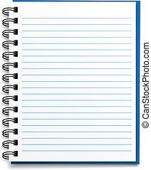 wektor, liniowany, notatnik, czysty